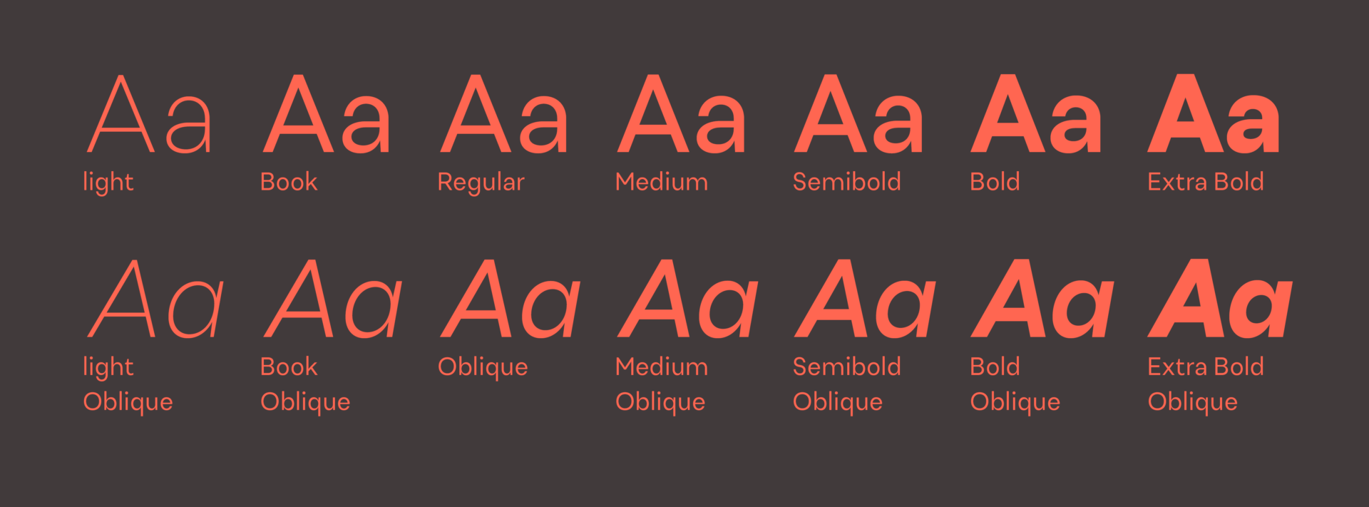 Uivo typeface weights