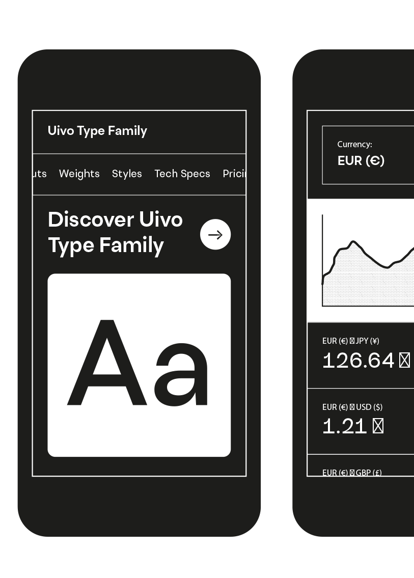 uivo typeface sample mobile